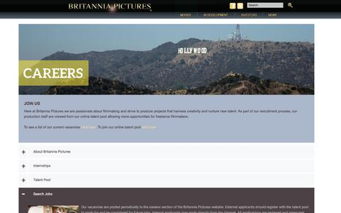 Screenshot of Jobs Page britanniapictures.com - Careers | Britannia Pictures - captured Aug. 4, 2018