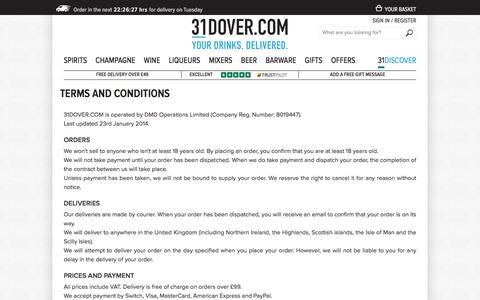 Screenshot of Terms Page 31dover.com - Terms and Conditions | 31DOVER - captured Sept. 22, 2018