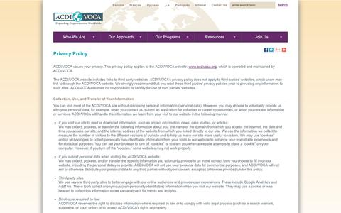 Screenshot of Privacy Page acdivoca.org - Privacy Policy - captured Sept. 22, 2014