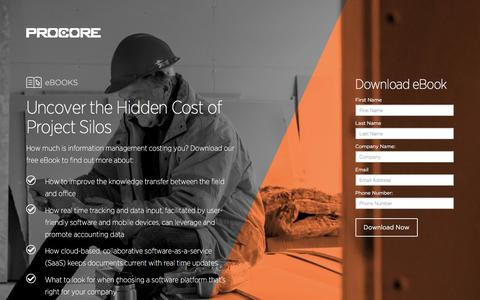 Screenshot of Landing Page procore.com - Uncover the Hidden Cost of Project Silos - captured June 1, 2016