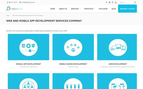 Screenshot of Services Page veztekusa.com - Mobile Application Development Services in Los Angeles - VeztekUSA - captured Nov. 26, 2019