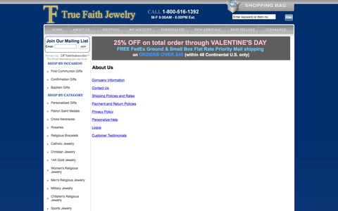 Screenshot of About Page truefaithjewelry.com - General Information and Policies - captured Jan. 28, 2016