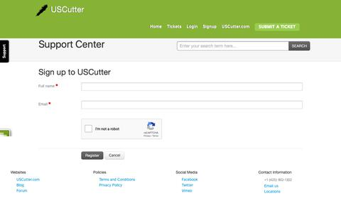 Screenshot of Signup Page uscutter.com - Signup for a new account : USCutter - captured Oct. 24, 2018