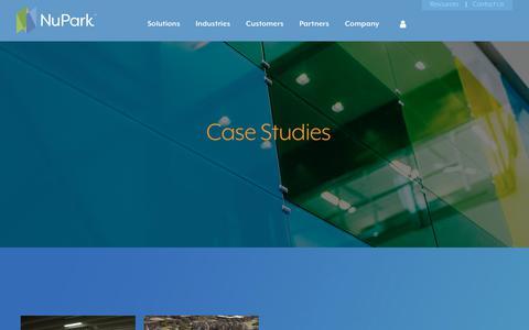 Screenshot of Case Studies Page nupark.com - Case Studies - captured Sept. 21, 2018