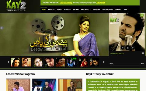 Screenshot of Home Page kay2.tv - Kay2 tv official website. KAY2 TV is Pakistan's first multi-lingual television channel - captured Sept. 19, 2014