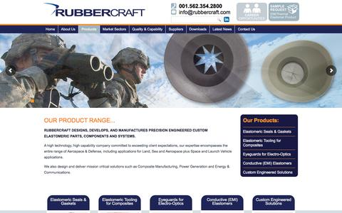 Screenshot of Products Page rubbercraft.com - Products - Elastomeric Parts, Components and Systems - Rubbercraft - captured Aug. 17, 2016