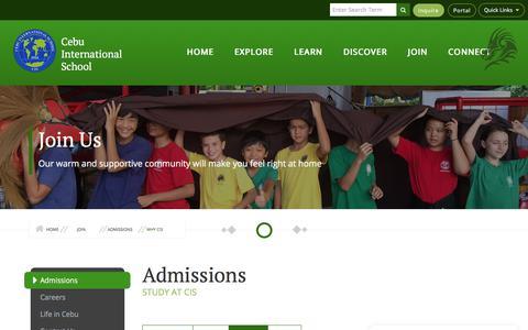 Screenshot of Signup Page cis.edu.ph - Cebu International School - captured April 23, 2018