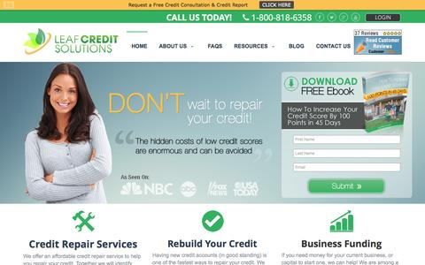 Screenshot of Home Page leafcreditsolutions.com - Credit Repair Services Company New Jersey | Build, Improve, Repair & Rebuild Credit Score - captured Sept. 29, 2014