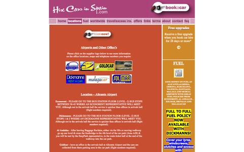 Screenshot of Locations Page hirecarsinspain.com - hire cars in spain - car hire for alicante, malaga, jerez, torrevieja, valencia and more - captured Sept. 30, 2014
