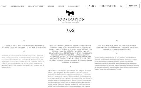 Screenshot of FAQ Page housination.com - Luxury villa rentals in Greece, Private luxury villas to rent in Greece and Greek Islands - Housination - captured Sept. 30, 2018
