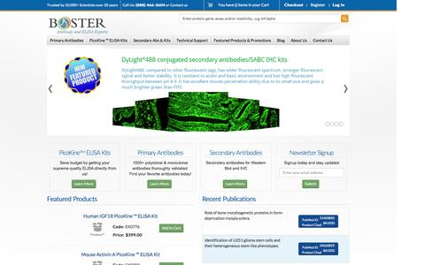 Screenshot of About Page bosterbio.com - Home - captured Oct. 5, 2014