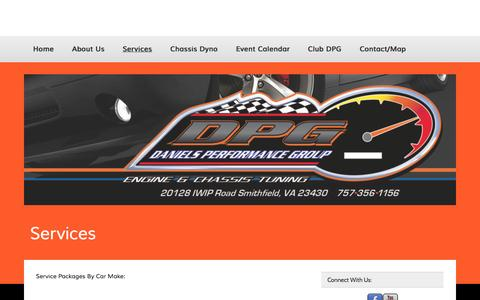 Screenshot of Services Page danielsperformancegroup.com - Services | - captured Oct. 29, 2014