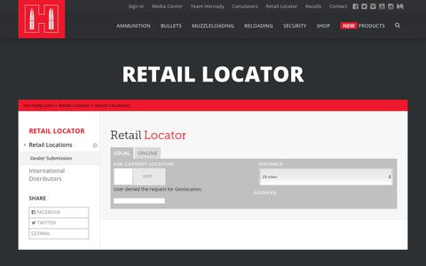 Screenshot of Locations Page hornady.com - Retail Locations - Hornady Manufacturing, Inc - captured Sept. 23, 2018