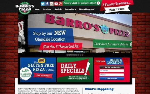 Screenshot of Home Page barrospizza.com - Barro's Pizza | Wings | Subs | Salad | Phoenix | Scottsdale | Mesa - captured Sept. 22, 2014