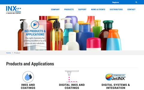 Screenshot of Products Page inxinternational.com - Product Category | INX - captured Feb. 21, 2020