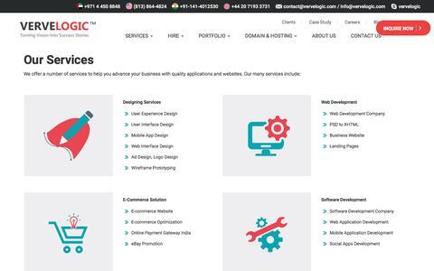 Screenshot of Services Page vervelogic.com - Verve Logic   Services - captured Jan. 1, 2018