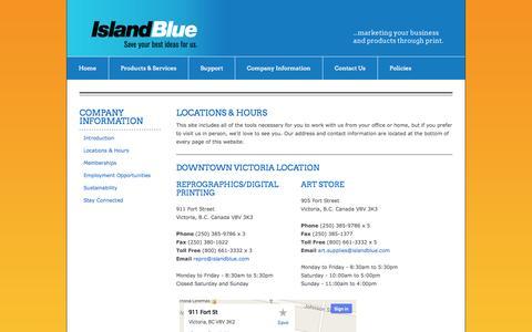 Screenshot of Locations Page Hours Page islandblue.com - Island Blue Print Co. Ltd. : Company Information : Locations & Hours - captured Oct. 25, 2014
