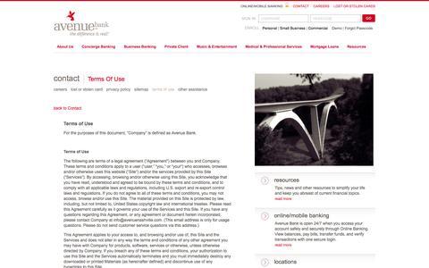 Screenshot of Terms Page avenuenashville.com - Avenue Bank   Contact Us - captured Sept. 23, 2014