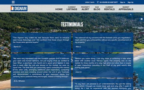 Screenshot of Testimonials Page dignam.com.au - Dignam Real Estate specialises in real estate in New South Wales (NSW), Wollongong & Illawarra and Shoalhaven   dignam.com.au - Testimonials - captured Feb. 9, 2016