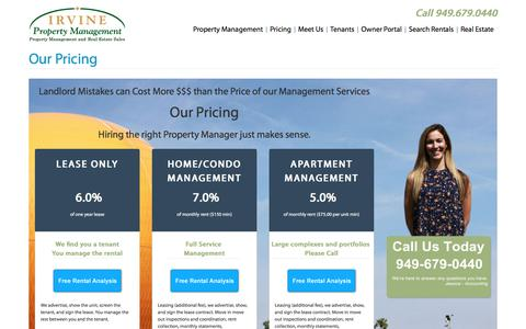 Screenshot of Pricing Page irvinepropertymanagement.net - Our Pricing - Irvine Property Management: Celebrating over 40 Years in Property Management - captured Oct. 5, 2017