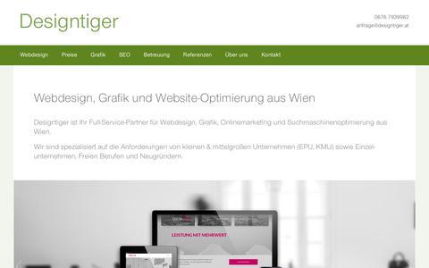 Screenshot of Home Page designtiger.at - Webdesign Wien: Homepage-Gestaltung, Websites & Logos • Designtiger - captured April 23, 2018