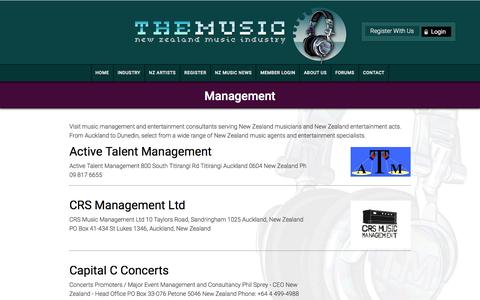 Screenshot of Team Page themusic.co.nz - Management -  NZ Music Industry - captured May 24, 2016