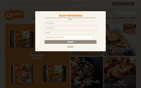 Screenshot of Home Page quorn.co.uk - Recipes, Products and News from Quorn – A Healthy Protein - captured Oct. 1, 2015