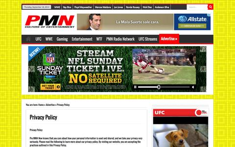 Screenshot of Privacy Page prommanow.com - Privacy Policy | Pro MMA Now - captured Sept. 19, 2014