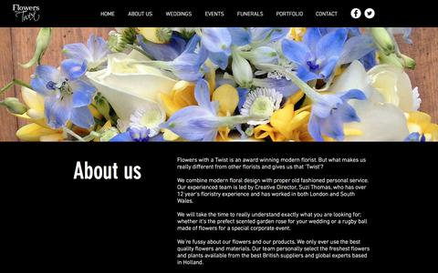 Screenshot of About Page flowerswithatwist.com - Flowers with a Twist | Unique Floristry | Homepage | ABOUT US - captured Aug. 18, 2018