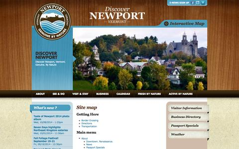 Screenshot of Site Map Page discovernewportvt.com - Site map | Discover Newport - captured Oct. 26, 2014