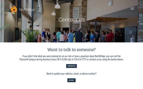 Screenshot of Contact Page northridgechurch.com - Contact Us - captured June 14, 2017