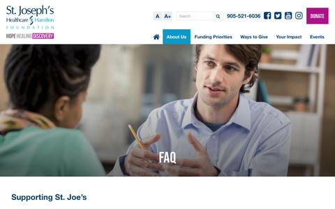 Screenshot of FAQ Page stjoesfoundation.ca - FAQ | St. Joseph's Healthcare Foundation - captured Oct. 18, 2018
