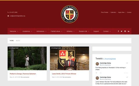 Screenshot of Blog cambridgedallas.org - The Cambridge School of Dallas    Blog - captured Dec. 3, 2016