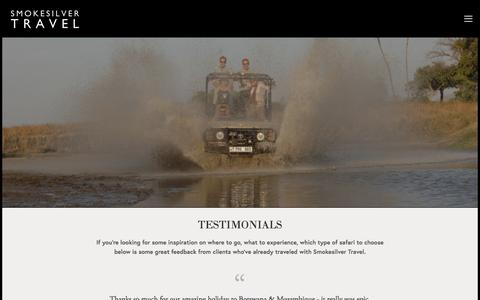 Screenshot of Testimonials Page smokesilvertravel.com - TESTIMONIALS — SMOKESILVER TRAVEL - captured May 26, 2017