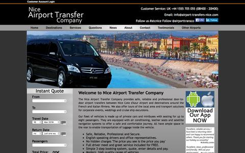 Screenshot of Home Page airport-transfers-nice.com - Nice Airport Transfer Company, Airport Transfers to Destinations on The French & Italian Riviera - captured March 14, 2016