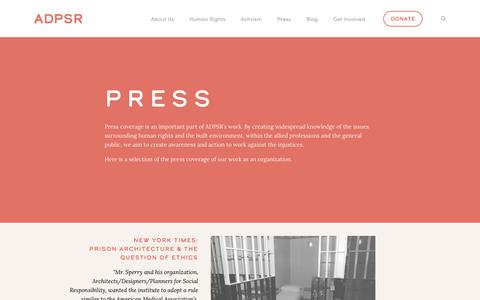 Screenshot of Press Page adpsr.org - Press — ADPSR - captured Oct. 4, 2018