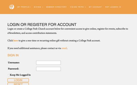 Screenshot of Login Page yourchurch.com - My Account - College Park Church - captured July 7, 2018