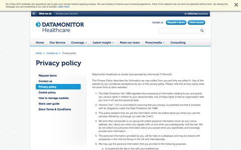 Screenshot of Privacy Page datamonitorhealthcare.com - Privacy policy |  Datamonitor Healthcare - captured Sept. 30, 2014