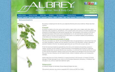 Screenshot of Terms Page aubrey-organics.com - Terms and Conditions - captured Sept. 25, 2014