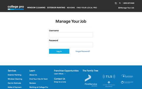 Screenshot of Login Page collegepro.com - Manage Your Job  | College Pro - captured Aug. 20, 2018