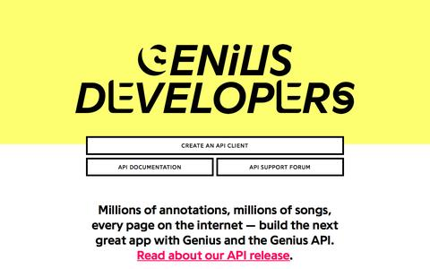 Screenshot of Developers Page genius.com - Genius | Song Lyrics & Knowledge - captured March 2, 2017