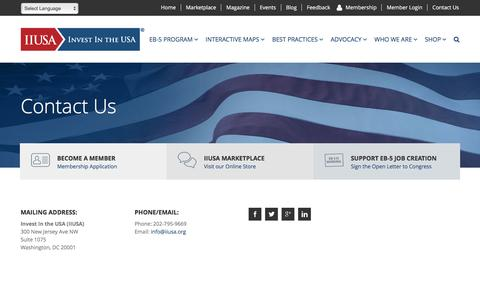 Screenshot of Contact Page iiusa.org - Contact | Investment Immigration | Invest in the USA | IIUSA - captured Nov. 21, 2016