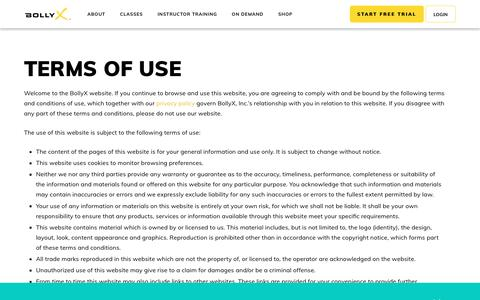 Screenshot of Terms Page bollyx.com - Terms of Use - BOLLYX - captured Oct. 5, 2018