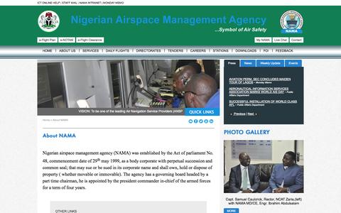 Screenshot of About Page nama.gov.ng - NAMA: Nigerian Airspace Management Agency - captured Oct. 26, 2014