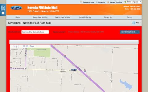 Screenshot of Maps & Directions Page nevadafordautomall.com - Directions at Nevada FLM Auto Mall - Your Nevada, Missouri Ford dealer - captured June 21, 2016