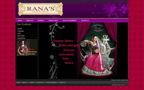 Screenshot of Products Page ranas.in - Designer Sarees, Indian Saree Online,Wedding Bridal Lehenga Saris, Salwar Kameez - captured Nov. 4, 2014
