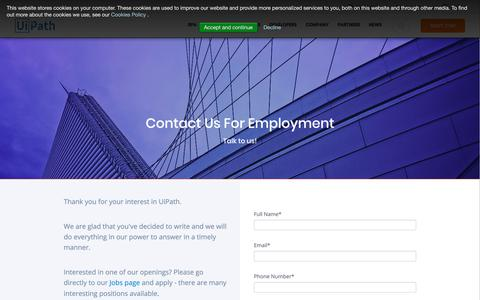 Screenshot of Jobs Page uipath.com - Contact us - Employment - captured May 6, 2018