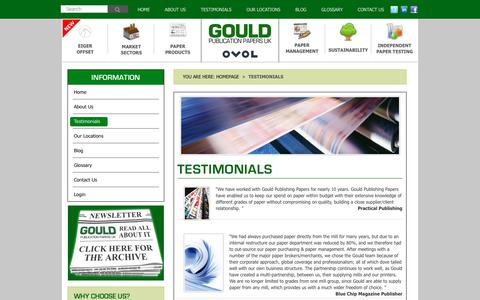 Screenshot of Testimonials Page gouldpublicationpapers.co.uk - Testimonials – Gould Publication Papers - captured July 22, 2018