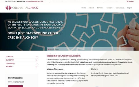 Screenshot of Site Map Page Team Page credentialcheck.com - Credential Check Corporation | About Us - captured Oct. 8, 2017