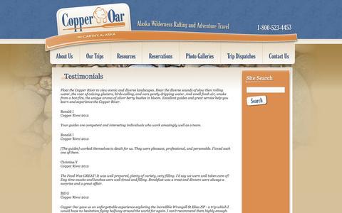 Screenshot of Testimonials Page copperoar.com - Testimonials From Our Guests | Copper Oar Rafting - Alaska - captured Oct. 2, 2014